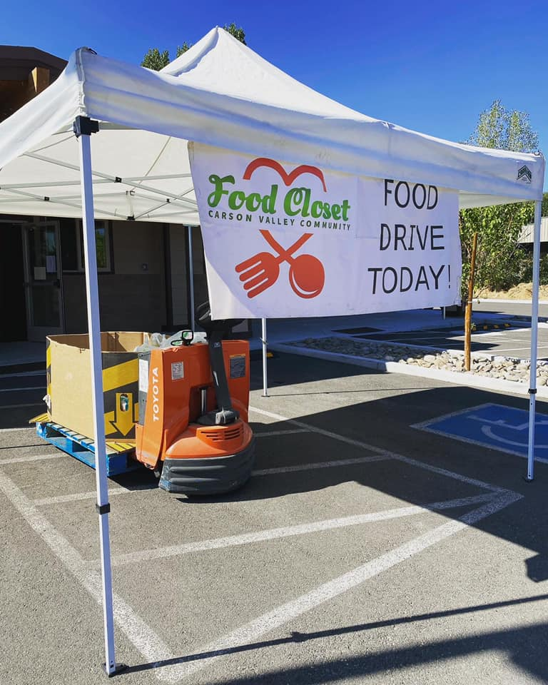 Carson Valley Community Food Closet donation collection tent