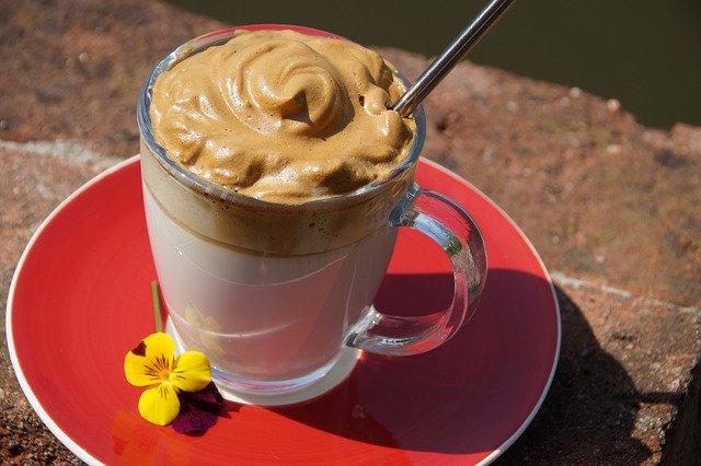mocha in a mug outside in sunshine