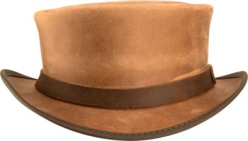 The Melting Pot World Emporium & Smoke Shop, Voodoo Hatter- Marlow Short Leather Top Hat