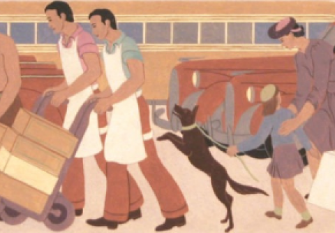 Nevada Museum of Art, History of Transportation: A Mural Study by Helen Lundeberg