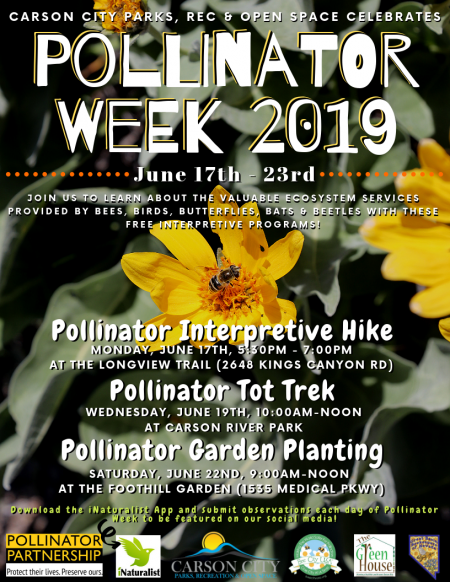 Carson City Parks & Recreation, Pollinator Week 2019
